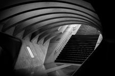 Free Gray Tunnel And Black Stairs Royalty Free Stock Image - 94536456