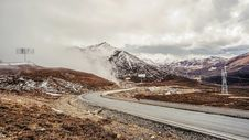 Free Road Through The Mountains In Winter Stock Image - 94536471