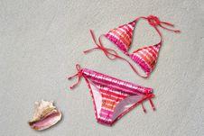 Free Orange Pink White Stripe Bikini Near Shell On Sand Beach Stock Photo - 94581210