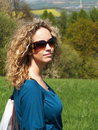 Free Curly Girl With Sunglasses Stock Image - 9466391
