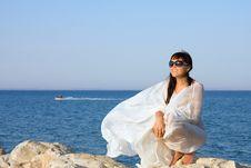 Portrait Of Beautifu Girl In White Sarong Royalty Free Stock Photos