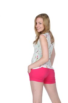 Free Pretty Young Woman In Tight, Hot Pink Shorts Royalty Free Stock Photography - 9461197