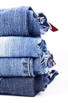 Free Stack Of Blue Jeans Royalty Free Stock Images - 9461299