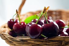 Free Basket With Cherries Stock Photos - 9462853