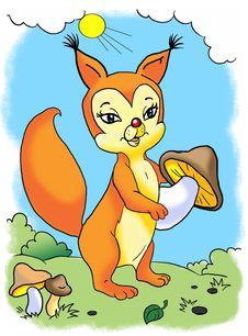 Free Orange Squirrel With Mushroom Royalty Free Stock Photo - 9463485