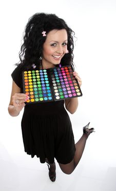 Free Lady Doll With Make-up Palette Stock Image - 9463641