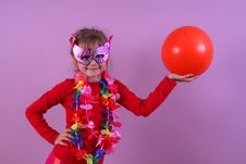 Girl In The Mask With A Ball Royalty Free Stock Images