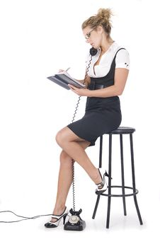 Beautiful Blonde Businees Woman Speaking By Phone Stock Images