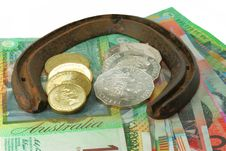 Horse Shoe And Money Stock Photos