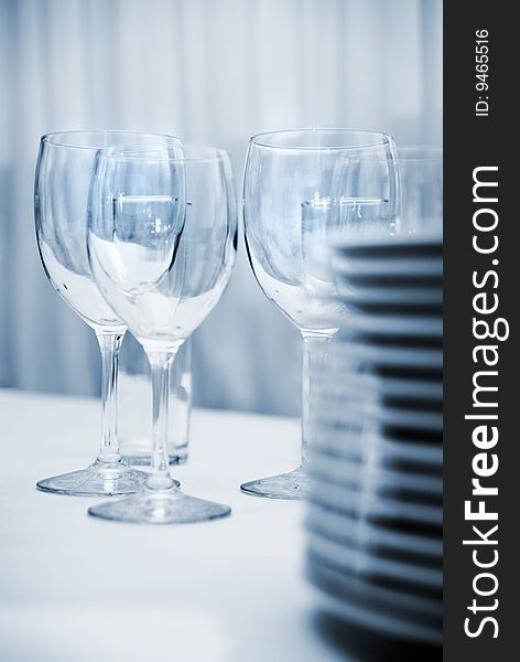 Glass goblets and plates