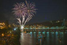 Free Time Lap Photo Of Purple Firework Display On Front Of Bridge Royalty Free Stock Image - 94642506