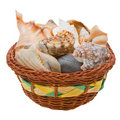 Free Sea Shells In A Basket Isolated On White Royalty Free Stock Photos - 9474658