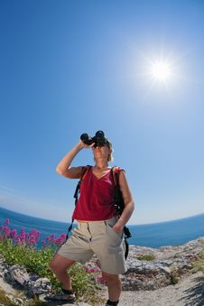 Woman Hiking Stock Photo