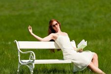 Free Woman Relax In Meadow In Summer Sun Stock Photography - 9473162