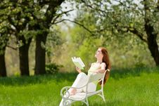 Free Woman Relax Under Blossom Tree In Summer Stock Photos - 9473203