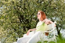 Free Woman Relax Under Blossom Tree In Summer Royalty Free Stock Photos - 9473208