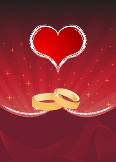 Free Red Heart And Rings Royalty Free Stock Images - 9473779