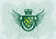 Free Grunge Green Coat Of Arms With Fleur-de-lis Royalty Free Stock Photos - 9474788