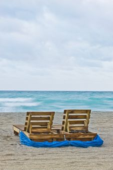 Beach Sunrise With Chairs Stock Photo