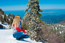 Free Young Girl In The Mountains Royalty Free Stock Photos - 9475728