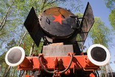 Communistic Red And Black Locomotive Stock Photos