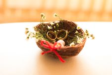 Free Birds Nest With Rings Royalty Free Stock Photography - 94777807