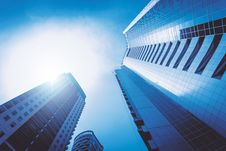 Free Skyscrapers With View Into The Sun Royalty Free Stock Image - 94777856