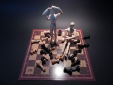 Free Wood Puppets On Chessboard Stock Photos - 94777893