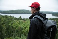 Free Man With Backpack In Woods Royalty Free Stock Photography - 94778247