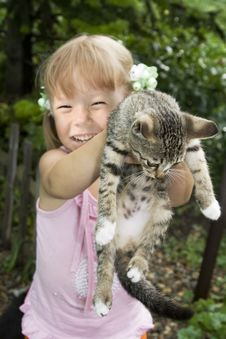 Free Girl With Kitten Stock Photo - 9480200