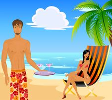 Woman In A Bathing Suit And The Man Royalty Free Stock Photography