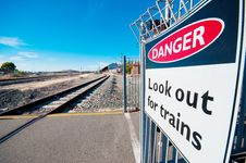 Danger Sign Along Railway Royalty Free Stock Photo