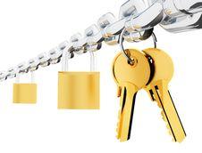 Free Chain Locks And Keys Sharp Royalty Free Stock Photo - 9482855