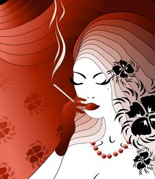Free Smoking Noblewoman Stock Photography - 9484582