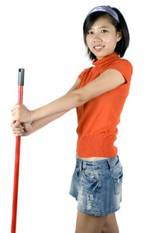 Free Happy Girl Cleaning Royalty Free Stock Image - 9484646