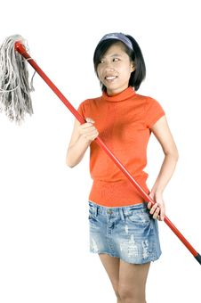 Free Happy Girl Cleaning Stock Photography - 9484682