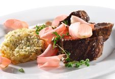 Beef Plate With Potatoes Galette Stock Image