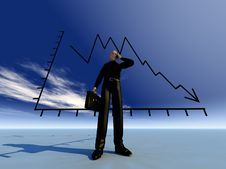 Free Businessman And Credit Crunch Graph Stock Image - 9485251