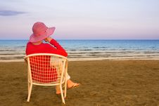 Free Lonely Young Woman Near The Ocean Stock Image - 9485961