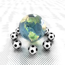 Free Soccer Ball With Earth Stock Images - 9485994