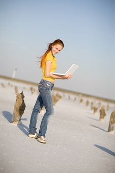 Free Happy Girl With Notebook Stock Photo - 9486340