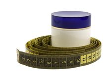 Jar With Cosmetic Cream And Measuring Tape Stock Images