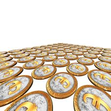 Free Golden Euro Coins On The White Stock Images - 9486904