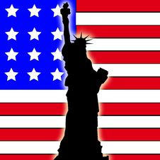 Free Statue Of Liberty With American Flag Stock Image - 9487001