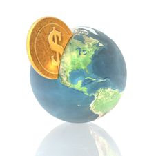 Free Coins With 3D Globe Isolated On A White Royalty Free Stock Photo - 9487065