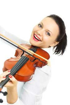 Free Happy Girl Playing The Violin Stock Images - 9487264