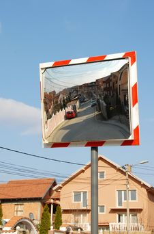 Traffic Mirror Royalty Free Stock Photography