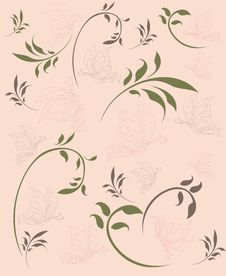Floral Seamless Wallpaper With Butterflies Stock Images