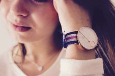 Free Closeup Of Girl With Wrist Watch Stock Photography - 94887012