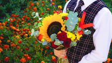 Free Boy With Bouquet Of Flowers Royalty Free Stock Image - 94887286